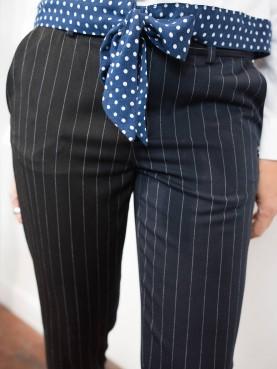 Pantalon rayé à taille élastiquée