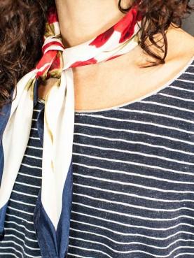 White navy striped top