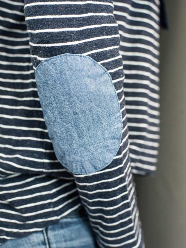 White navy striped top upcycling