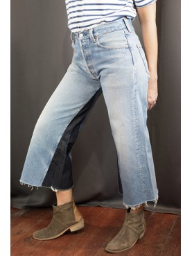 Cropped Upcycled jeans frayed hem
