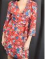 Robe portefeuille fleurs rouges