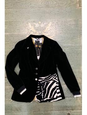veste velvet noir et lainage pied de poule TM