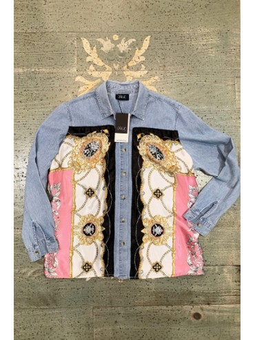 Denim & scarf shirt Size S