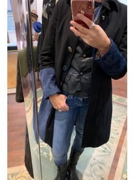 Manteau patchs velours bleu