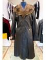 manteau cuir col fourrure