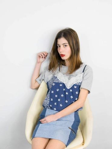 Vintage upcycled melange grey women's Tshirt