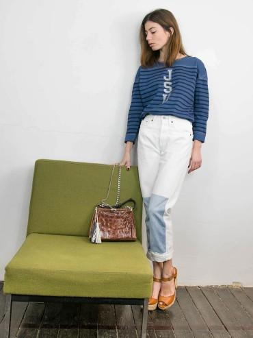 White jeans denim patch S