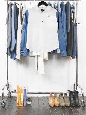 Chemise blanche manches denim