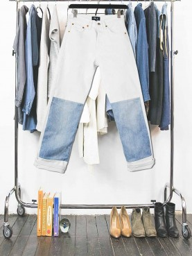 Jean blanc patch denim TS