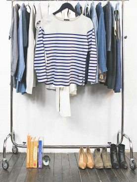 White navy striped top
