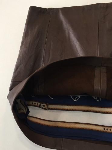Jupe cuir marron intérieur