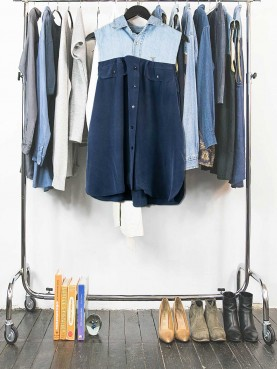 Denim and navy silk shirt
