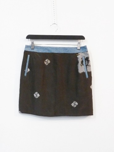 Blue jacquard skirt upcycled
