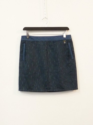 Blue jacquard skirt upcycled