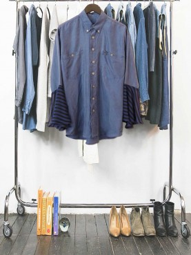 Blue silk shirt with flared cuff