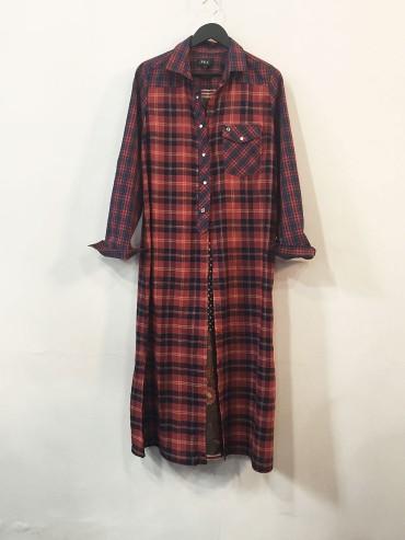 Maxi chemise carreaux viscose et foulard TL