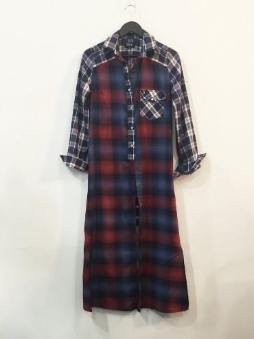 Maxi chemise carreaux viscose et foulard TS