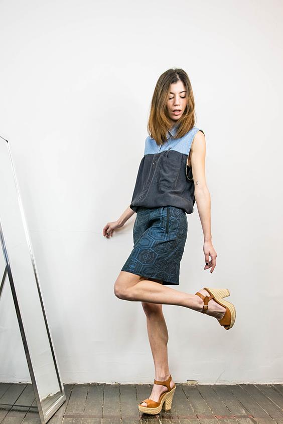 chemise sans manches soie et denim et jupe jacquard upcycled