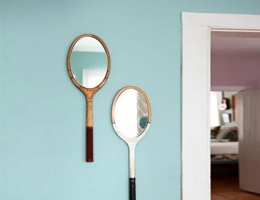 Raquettes miroirs, objets recup'