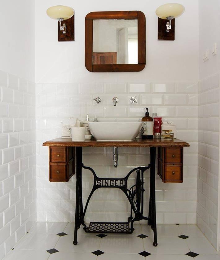 recup', upcycling, table machine à coudre reconvertit en meuble de salle de bain